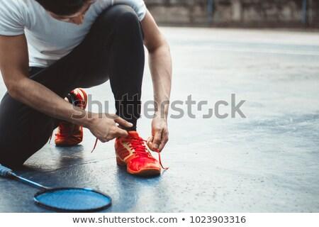 Stóp badminton gracz kobieta lata zielone Zdjęcia stock © ssuaphoto