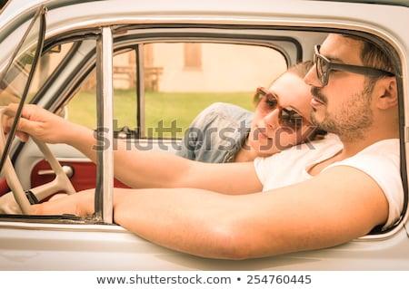 медовый месяц молодые Cute пару Сток-фото © konradbak
