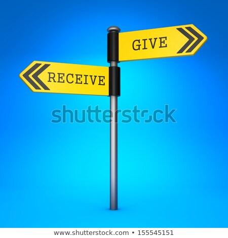 Donner choix jaune direction signe Photo stock © tashatuvango