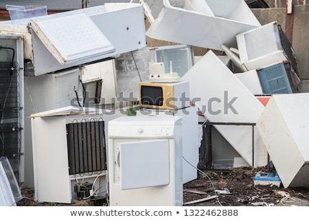 Készülékek szeméttelep öreg fém fehér újrahasznosít Stock fotó © wellphoto
