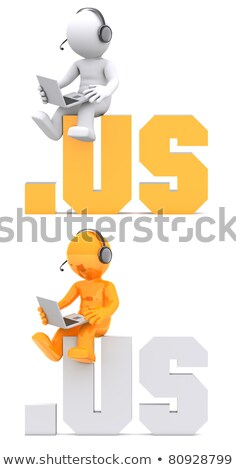 3d character sitting on .US domain sign. Stock photo © Kirill_M