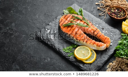 grilled salmon steak and vegetables stock photo © M-studio