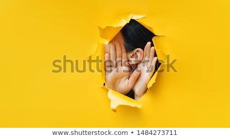 Stock fotó: Női · fül · lány · arc · haj · szépség