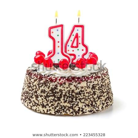 Burning birthday candles number 14 Stock photo © Zerbor