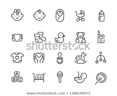 Baby iconen meisje cute ansichtkaarten charts Stockfoto © vectorpro