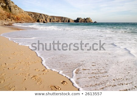 The tide coming in on a sunny day, Porthcurno, Cornwall, UK Stock photo © latent