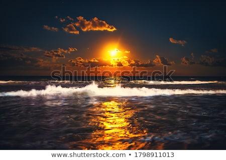 темно синий лунный свет морем пляж небе Сток-фото © mycola