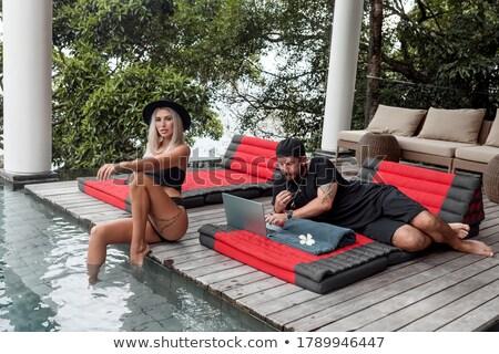 ゴージャス 女性 デッキチェア 女性 ビーチ 幸せ ストックフォト © konradbak