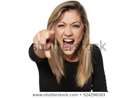 Fiatal nő kiált frusztráció nő kék düh Stock fotó © bmonteny