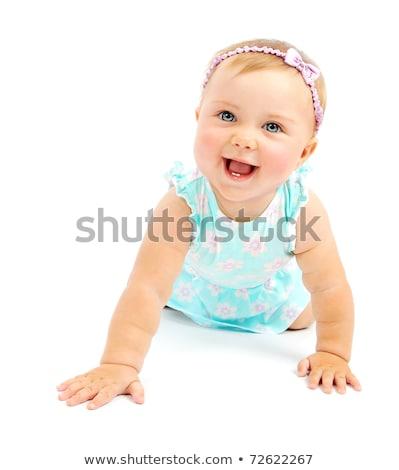 Foto stock: Adorável · menina · isolado · branco · bebê · criança