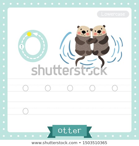 letter o for otter cartoon illustration Stock photo © izakowski