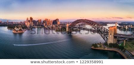 Sydney · Ausztrália · kikötő · híd · alkonyat · kilátás - stock fotó © lovleah