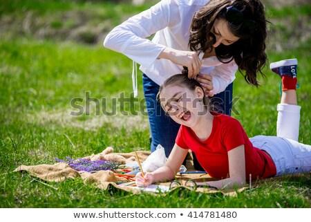 mooie · jonge · vrouw · haren · gezicht · vrouwen · gelukkig - stockfoto © novic
