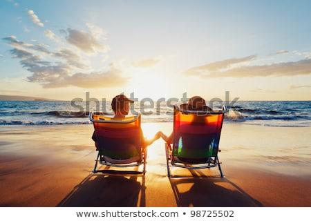 casal · relaxante · férias · beira-mar · mar - foto stock © kzenon