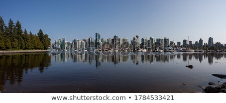 Vancouver downtown and marina from Stanley park boardwalk Stock photo © eddygaleotti
