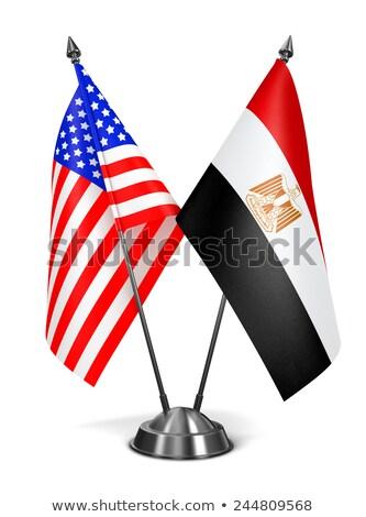 USA Egipt miniatura flagi odizolowany biały Zdjęcia stock © tashatuvango