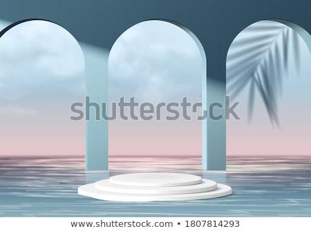 adımlar · okyanus · gri · taşlar · pembe · mavi - stok fotoğraf © elenarts
