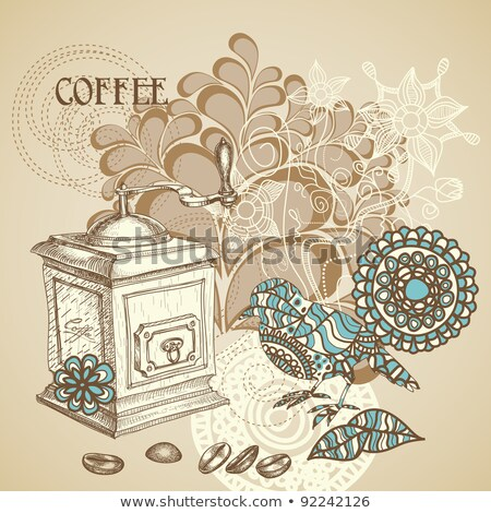 doodle background with coffee mill flowers and birds stock photo © elmiko