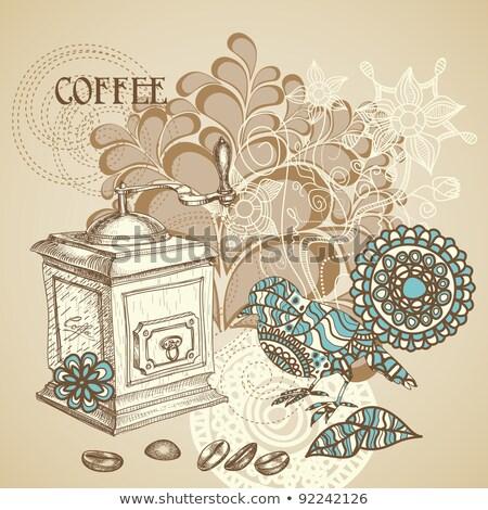 Gryzmolić kawy młyn kwiaty ptaków biały Zdjęcia stock © Elmiko