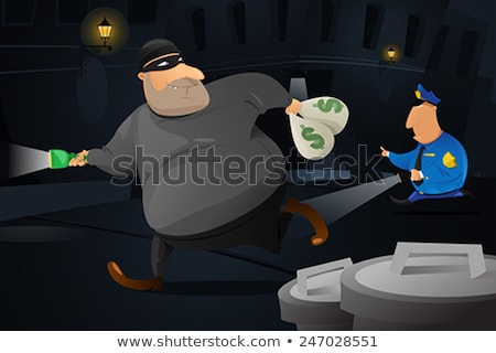 Policeman Catching A Robber In A Dark Alley Stockfoto © Artisticco