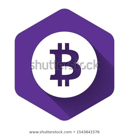 ストックフォト: ビット · コイン · 紫色 · ベクトル · アイコン · ボタン