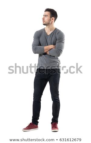 Portrait musculaire homme permanent bras pliées Photo stock © deandrobot