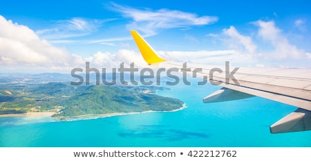 earth and plane wing view stock photo © sarymsakov