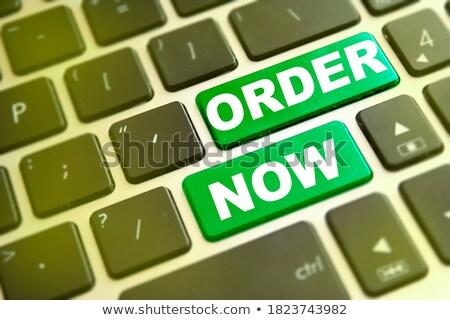 Photo stock: Clavier · vert · bouton · ordre · maintenant · affaires