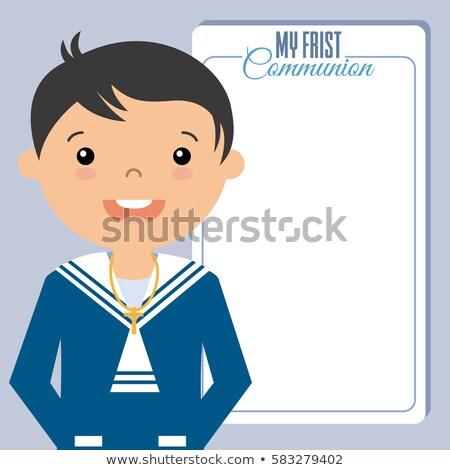 Elsőáldozás meghívó fiú matróz öltöny enyém Stock fotó © marimorena