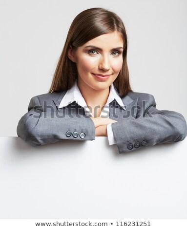 zöld · kéz · üzletasszony · olvas · papír · fehér - stock fotó © elwynn