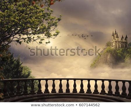 Castelo varanda medieval interior pedra tijolo Foto stock © igabriela