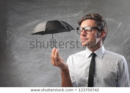 Stock fotó: üzletember · kicsi · esernyő · nehéz · vihar · üzlet