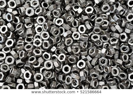 Foto stock: Metal Nuts Washers Bolts Closeup