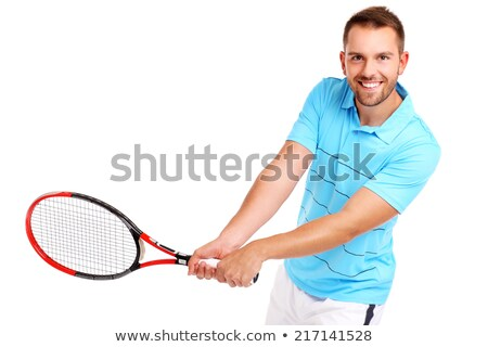 Handsome man holding tennis racket with ball Stock photo © deandrobot