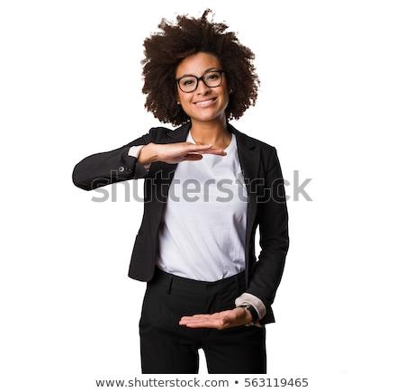 iets · palm · mooie · vrouw · tonen · hand · vrouw - stockfoto © fuzzbones0