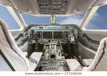 Wewnątrz widoku kabina pilota Błękitne niebo chmury niebo Zdjęcia stock © juniart