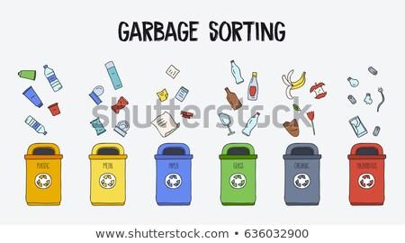 papel · reciclagem · separação · desperdiçar · simplificada · ilustração - foto stock © netkov1