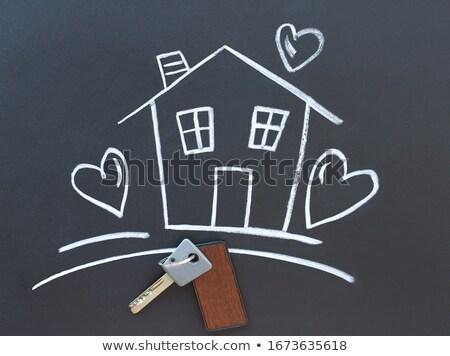 Key for house icon drawn in chalk. Stock photo © RAStudio