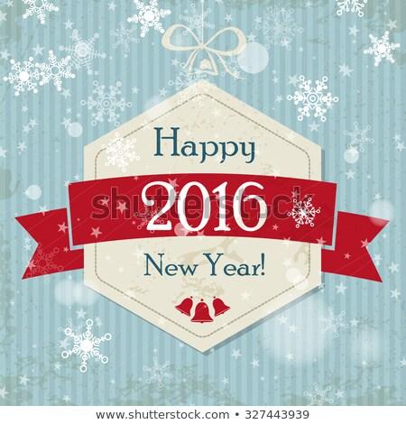 happy new year 2016 in red hexagon label Stock photo © marinini
