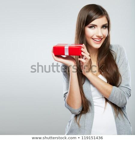 довольно · красное · платье · изолированный · белый · лице - Сток-фото © elnur