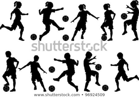 Stock fotó: Futball · gyerekek · sziluettek · futball · csapat · fiú