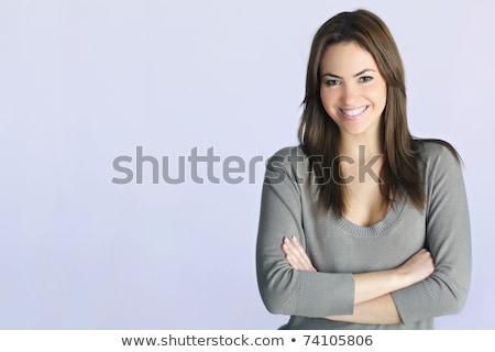 Bastante mulher jovem posando branco sensual Foto stock © deandrobot
