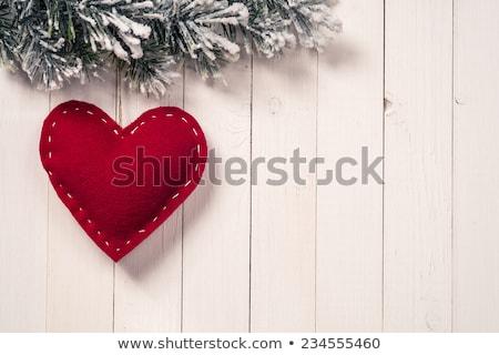 Karácsony szív akasztás rusztikus fából készült fal Stock fotó © fotoedu