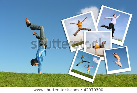happy girl jumps on grass and photos of jumpimg girls, collage Stock photo © Paha_L