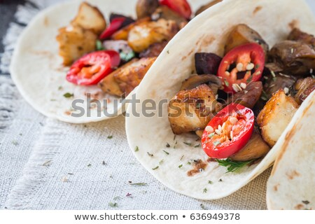 Stockfoto: Breakfast Tacos With Sausage Cheese And Peppers