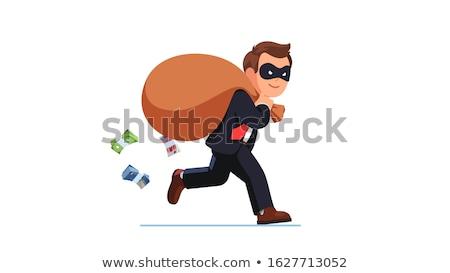 Stockfoto: Businessman Criminal With Sacks Of Money