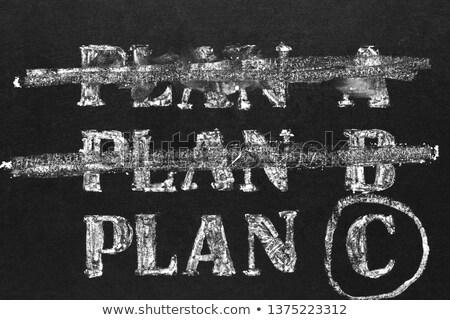 B-terv kézzel írott tábla kicsi dolgozik asztal Stock fotó © tashatuvango