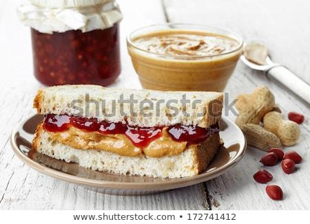 Fıstık ezmesi sandviçler ışık ahşap gıda ekmek Stok fotoğraf © kkolosov