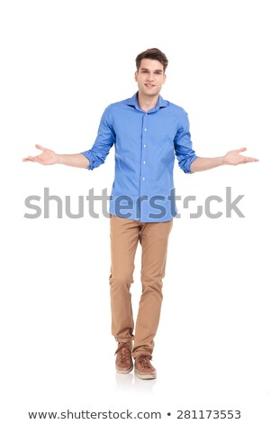 handsome casual man welcoming with hands open stock photo © feedough