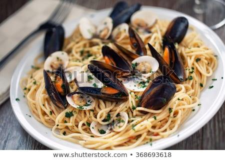 Stok fotoğraf: Lezzetli · İtalyan · deniz · ürünleri · makarna · soyulmuş · yatak